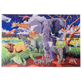 PUZZLE W TUBIE DZIKIE SAFARI Z PLAKATEM 100 EL. - CROCODILE CREEK